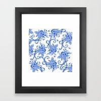 Paisley: Blue China Comb… Framed Art Print