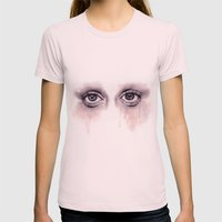 Bloodshot Eyes Doodle  Womens Fitted Tee Light Pink SMALL