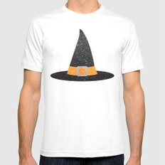 Glitter Witch Hat Mens Fitted Tee White SMALL