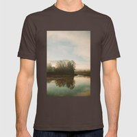 Calm Lake Mens Fitted Tee Brown SMALL