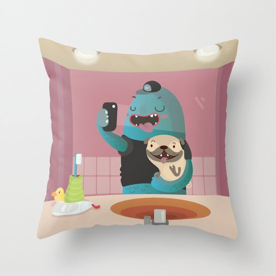 Bathroom selfie Throw Pillow