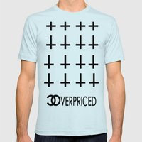 CHANEL OVERPRICED UPSIDE DOWN CROSS HIPSTER Mens Fitted Tee Light Blue SMALL