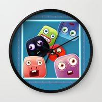 Glutton Jelly Monsters - all Wall Clock