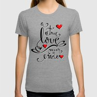Valentine Love Calligrap… Womens Fitted Tee Tri-Grey SMALL