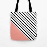Diagonal Block - Pink Tote Bag