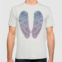 Angel Wings Mens Fitted Tee Silver SMALL