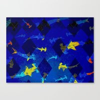 Argyle Frenzy In Lapis Canvas Print