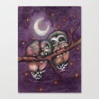 Owls in love II Canvas Print