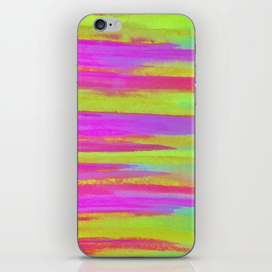 DISCO FEVER - Bright Neon Green Pink Funky Dance 70s Retro Stripes Abstract Watercolor Painting iPhone & iPod Skin