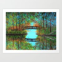 Small Bridge In The Wood… Art Print