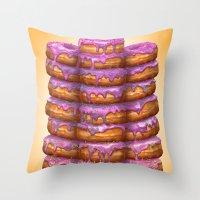 Donuts II 'Bon appetit Homer' Throw Pillow