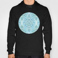 Turquoise Blue, Teal & White Protea Doodle Pattern Hoody