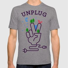 Unplug Mens Fitted Tee Tri-Grey SMALL