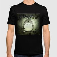 Totoro In The Rain Mens Fitted Tee Black SMALL