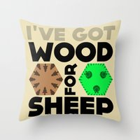Wood for Sheep (Catan series) Throw Pillow