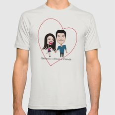 Rebecca Black and Simon Cowell are Friends Mens Fitted Tee Silver SMALL