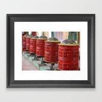 Red Prayers Turning Framed Art Print