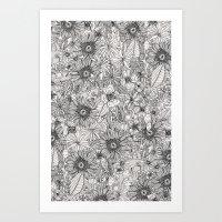 Pencil Flowers Art Print