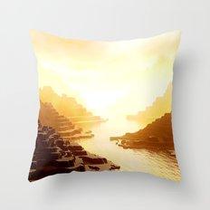 Mysterious Mountains Waterway Throw Pillow