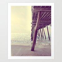 Pier At Sunrise With Gli… Art Print