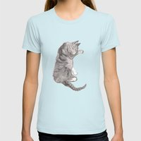 Tabby Cat Womens Fitted Tee Light Blue SMALL