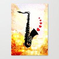 Sax and Love Canvas Print