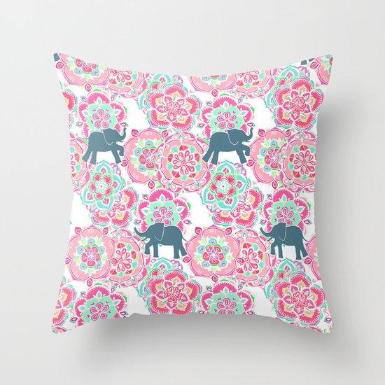 Tiny Elephants in Fields of Flowers Throw Pillow
