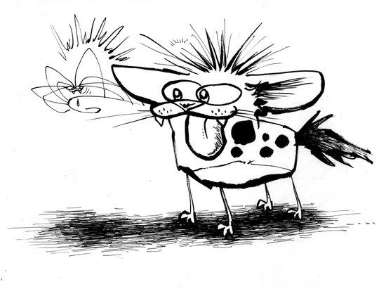 Hyena and the Spider whisker whisk  Art Print