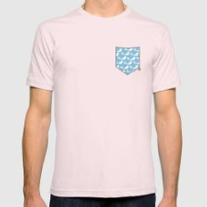 Joyful Dolphin Dancing in the Ocean Mens Fitted Tee Light Pink SMALL