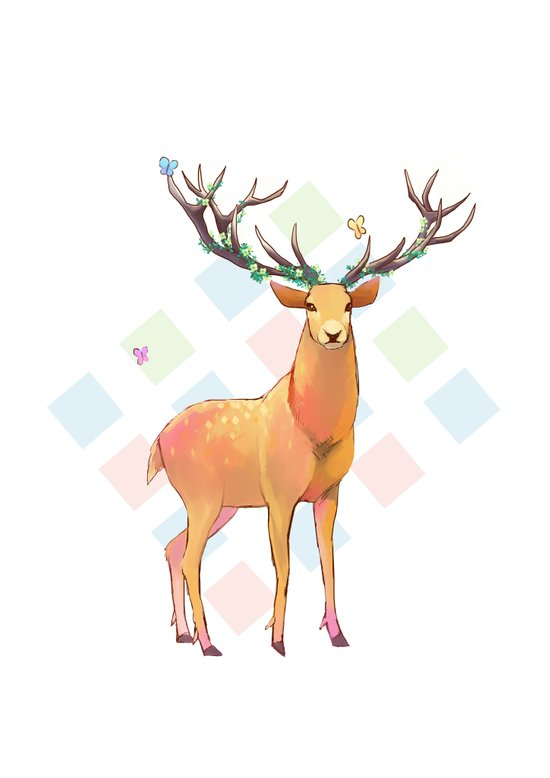 Deer and Diamonds Art Print