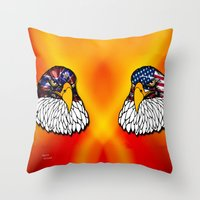 Confederate and Union Eagles Throw Pillow