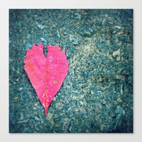 Heart Leaf Fall Photography Autumn Nature Photography Love  Canvas Print