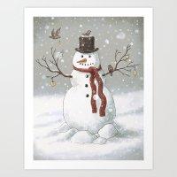 Christmas Snowman  Art Print