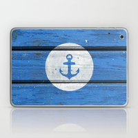 Nautical White Anchor on Vintage Blue Wood Panels Laptop & iPad Skin