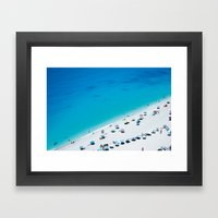 The beach. Blue sea mediterranean Greek beach. Summer seascape photography Framed Art Print