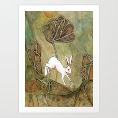 Hare with Standing Stones Art Print