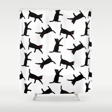 Cats-Black on White Shower Curtain