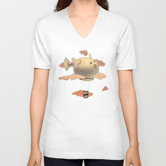 Panda fliying in a Blow fish 2 V-neck T-shirt