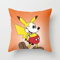 Mickey X Pikachu Throw Pillow