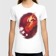 Heat Wave Womens Fitted Tee White LARGE
