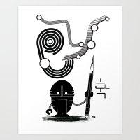 Robot Graffiti  Art Print