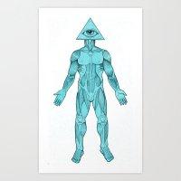 Seeing Eye, Blue Art Print