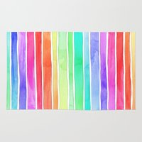 Bright Rainbow Colored Watercolor Paint Stripes Rug