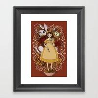 Alice and the white rabbit Framed Art Print