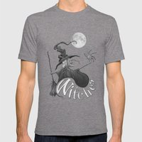 Black and White Witch Mens Fitted Tee Tri-Grey SMALL