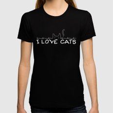 I Love Cats Womens Fitted Tee Black SMALL