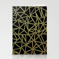 Abstract Blocks Gold Stationery Cards