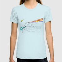 Hipster Laser Dinosaur Womens Fitted Tee Light Blue SMALL
