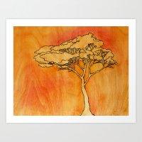 Wooden Tree Art Print