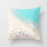 beach love III square Throw Pillow